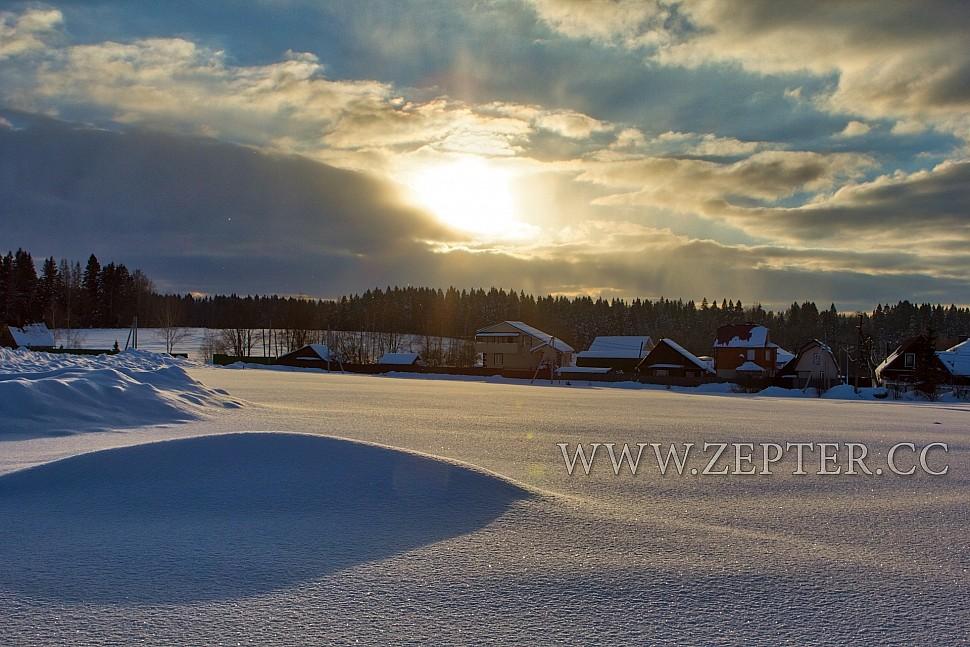 февральский закат в деревне, фотообои